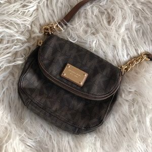 "Michael Kors Brown ""MK"" Crossbody Bag"